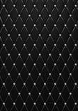 Η κουμπί-σχηματισμένη τούφες ο Μαύρος σύσταση δέρματος με τα διαμάντια Στοκ Εικόνες