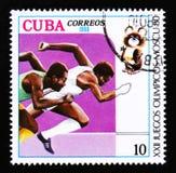 Η Κούβα παρουσιάζει δρομείς ορμής, θερινοί Ολυμπιακοί Αγώνες στη Μόσχα, circa το 1980 Στοκ εικόνες με δικαίωμα ελεύθερης χρήσης