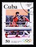 Η Κούβα παρουσιάζει εγκιβωτισμό, 23οι θερινοί Ολυμπιακοί Αγώνες, Λος Άντζελες το 1984, ΗΠΑ, circa το 1983 Στοκ Εικόνα