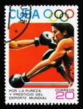 Η Κούβα παρουσιάζει εγκιβωτισμό, 23οι θερινοί Ολυμπιακοί Αγώνες, Los Anbgeles το 1984, ΗΠΑ, circa το 1984 Στοκ φωτογραφίες με δικαίωμα ελεύθερης χρήσης