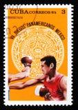 Η Κούβα παρουσιάζει εγκιβωτισμό, που αφιερώνεται στη 7η αμερικανική νεολαία τα παιχνίδια στο Μεξικό, circa το 1975 Στοκ φωτογραφία με δικαίωμα ελεύθερης χρήσης