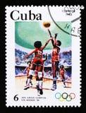 Η Κούβα παρουσιάζει καλαθοσφαίριση, 23 θερινοί Ολυμπιακοί Αγώνες, Λος Άντζελες το 1984, ΗΠΑ, circa το 1983 Στοκ εικόνα με δικαίωμα ελεύθερης χρήσης