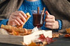 Η κούπα εκμετάλλευσης γυναικών καυτού πίνει το τσάι μήλων, θερμαμένο κρασί Θηλυκά χέρια με το φλυτζάνι του εποχιακού ζεστού ποτού Στοκ Εικόνες