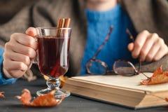 Η κούπα εκμετάλλευσης γυναικών καυτού πίνει το τσάι μήλων, θερμαμένο κρασί Θηλυκά χέρια με το φλυτζάνι του εποχιακού ζεστού ποτού Στοκ εικόνα με δικαίωμα ελεύθερης χρήσης