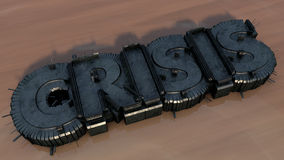 Η κρίση τρισδιάστατη εξωθεί το κείμενο Στοκ φωτογραφία με δικαίωμα ελεύθερης χρήσης
