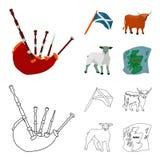 Η κρατική σημαία Andreev, Σκωτία, ο ταύρος, τα πρόβατα, ο χάρτης της Σκωτίας Καθορισμένα εικονίδια συλλογής της Σκωτίας στα κινού διανυσματική απεικόνιση