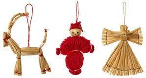 Η κρεμώντας διακόσμηση Χριστουγέννων αχύρου, Χριστούγεννα κρεμά τα παιχνίδια καθορισμένα, απομονωμένος Στοκ φωτογραφίες με δικαίωμα ελεύθερης χρήσης