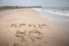Η Κριμαία είναι σημάδι της Ουκρανίας στην άμμο Στοκ εικόνες με δικαίωμα ελεύθερης χρήσης