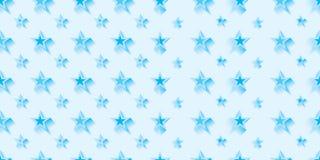 Η κρύα μπλε συμμετρία αστεριών συνδυάζει το άνευ ραφής σχέδιο Στοκ Εικόνα