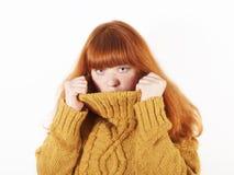 η κρύβοντας γυναίκα χελ&omega Στοκ εικόνες με δικαίωμα ελεύθερης χρήσης