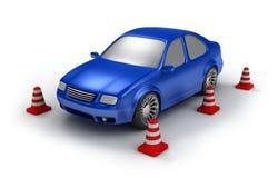 η κυανή εξέταση αυτοκινήτων απομόνωσε το λευκό Στοκ Εικόνα
