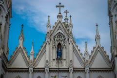 Η κυρία μας τοπ άποψης εκκλησιών dourdes στοκ φωτογραφία