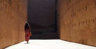 Η κυρία περπατά μακριά κάτω από μια υψηλός-περιτοιχισμένη αλέα στοκ φωτογραφίες