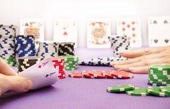 Η κυρία πόκερ πηγαίνει όλοι μέσα Στοκ εικόνες με δικαίωμα ελεύθερης χρήσης