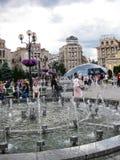Η Κυριακή στο τετράγωνο ανεξαρτησίας στο Κίεβο, Ουκρανία Στοκ Εικόνες
