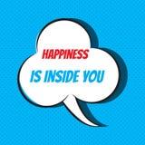 Η κωμική λεκτική φυσαλίδα με την ευτυχία φράσης είναι μέσα σε σας διανυσματική απεικόνιση
