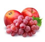 Η κόκκινα Apple και σταφύλια που απομονώνονται στο άσπρο υπόβαθρο Στοκ Εικόνα