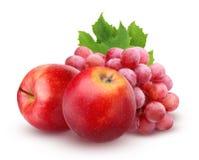 Η κόκκινα Apple και σταφύλια που απομονώνονται στο άσπρο υπόβαθρο Στοκ εικόνα με δικαίωμα ελεύθερης χρήσης