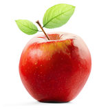 Η κόκκινα Apple και φύλλο που απομονώνονται με το ψαλίδισμα της πορείας Στοκ Εικόνες