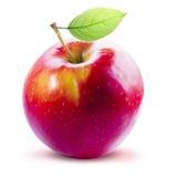 Η κόκκινα Apple και φύλλο που απομονώνονται με το ψαλίδισμα της πορείας Στοκ φωτογραφίες με δικαίωμα ελεύθερης χρήσης
