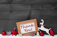 Η κόκκινη διακόσμηση Χριστουγέννων, σας ευχαριστεί, χιόνι, γκρίζο υπόβαθρο Στοκ Εικόνες