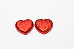 Η κόκκινη καραμέλα σοκολάτας καρδιών απομονώνει στο άσπρο υπόβαθρο Στοκ Φωτογραφία