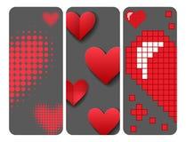 Η κόκκινη καρδιών αιχμηρή κάρτα χρώματος καρτών διανυσματική ροζ όμορφη γιορτάζει τη φωτεινή διακόσμηση τέχνης διακοπών emoticon Στοκ Εικόνες