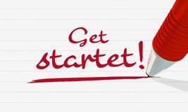 Η κόκκινη μάνδρα γράφει ότι ` παίρνει αρχισμένο ` σε ένα ευθυγραμμισμένο κομμάτι χαρτί Συμβολικός κάτι έναρξη ή η αρχή κάτι διανυσματική απεικόνιση