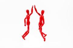 Η κόκκινη ξύλινη τέχνη διαμορφώνει υψηλός-πέντε Στοκ Φωτογραφίες