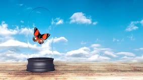Η κόκκινη πεταλούδα έκλεισε τρισδιάστατο δίνει την τρισδιάστατη απεικόνιση Στοκ εικόνες με δικαίωμα ελεύθερης χρήσης
