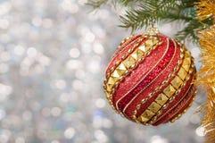 Η κόκκινη σφαίρα Χριστουγέννων σε έναν κλάδο χριστουγεννιάτικων δέντρων πέρα από το θολωμένο λαμπρό υπόβαθρο, κλείνει επάνω Στοκ Εικόνες