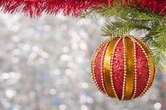 Η κόκκινη σφαίρα Χριστουγέννων σε έναν κλάδο χριστουγεννιάτικων δέντρων πέρα από το θολωμένο λαμπρό υπόβαθρο, κλείνει επάνω Στοκ εικόνες με δικαίωμα ελεύθερης χρήσης
