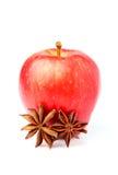 Η κόκκινη ώριμη Apple με το γλυκάνισο αστεριών καρυκευμάτων Στοκ Εικόνες