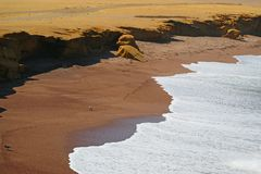 Η κόκκινο παραλία ή το Playa Roja με τον καθαρό άσπρο αφρό κυμάτων από το Ειρηνικό Ωκεανό, εθνική επιφύλαξη Paracas στο Περού στοκ εικόνα με δικαίωμα ελεύθερης χρήσης
