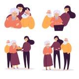 Η κόρη βοηθά τους παλαιούς γονείς της Γενέθλια, προσοχή διανυσματική απεικόνιση