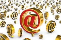 Η κύρια διεύθυνση & x28 Διαδικτύου @& x29  Ένα ενιαίο κόκκινο & χρυσό symbo ηλεκτρονικού ταχυδρομείου Στοκ Εικόνες