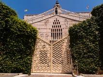 Η κύρια πρόσοψη της βασιλικής Annunciation στη Ναζαρέτ Στοκ Εικόνες
