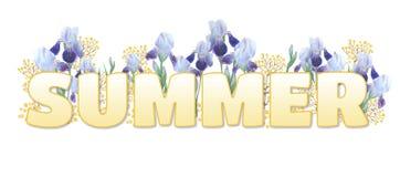 """Η λέξη """"καλοκαίρι """" Κίτρινη επιγραφή κλίσης στο άσπρο υπόβαθρο Φωτεινές ίριδες και κίτρινα κλαδάκια απεικόνιση αποθεμάτων"""