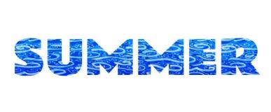 """Η λέξη """"καλοκαίρι """" Μπλε επιγραφή στο άσπρο υπόβαθρο στοκ φωτογραφία"""