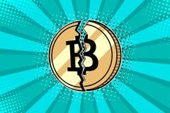 Η λαϊκή τέχνη bitcoin είναι σπασμένη στο μισό Η κατάρρευση και η πτώση της σειράς μαθημάτων για crypto το νόμισμα ελεύθερη απεικόνιση δικαιώματος