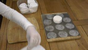 Η λειτουργία της συσκευασίας των κεφαλιών του τυριού απόθεμα βίντεο