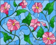 Η λεκιασμένη απεικόνιση γυαλιού ανθίζει loach, ρόδινα λουλούδια και φύλλα στο μπλε υπόβαθρο Στοκ Εικόνες