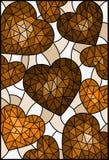Η λεκιασμένη απεικόνιση γυαλιού, αφηρημένο υπόβαθρο με τις καρδιές, τονίζει καφετή, σέπια Στοκ φωτογραφία με δικαίωμα ελεύθερης χρήσης