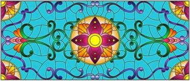Η λεκιασμένη απεικόνιση γυαλιού με την περίληψη στροβιλίζεται, ανθίζει και φεύγει σε ένα μπλε υπόβαθρο, οριζόντιος προσανατολισμό Στοκ Φωτογραφία