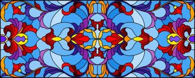 Η λεκιασμένη απεικόνιση γυαλιού με την περίληψη στροβιλίζεται, ανθίζει και φεύγει σε ένα μπλε υπόβαθρο, οριζόντιος προσανατολισμό ελεύθερη απεικόνιση δικαιώματος