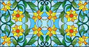 Η λεκιασμένη απεικόνιση γυαλιού με την περίληψη στροβιλίζεται, κίτρινα λουλούδια και φύλλα σε ένα μπλε υπόβαθρο, οριζόντιος προσα Στοκ Φωτογραφίες