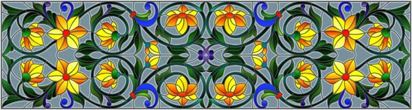 Η λεκιασμένη απεικόνιση γυαλιού με την περίληψη στροβιλίζεται, κίτρινα λουλούδια και φύλλα σε ένα γκρίζο υπόβαθρο, οριζόντιος προ ελεύθερη απεικόνιση δικαιώματος