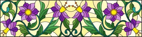 Η λεκιασμένη απεικόνιση γυαλιού με την περίληψη στροβιλίζεται, πορφυρά λουλούδια και φύλλα σε ένα κίτρινο υπόβαθρο, οριζόντιος πρ Στοκ εικόνα με δικαίωμα ελεύθερης χρήσης