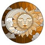 Η λεκιασμένη απεικόνιση γυαλιού, ο αφηρημένοι ήλιος και το φεγγάρι στον ουρανό, στρογγυλή εικόνα, τονίζουν καφετή Στοκ Εικόνες