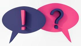 Η λεκτική φυσαλίδα με το ερωτηματικό και το σημάδι θαυμαστικών τρισδιάστατο δίνουν Στοκ εικόνα με δικαίωμα ελεύθερης χρήσης